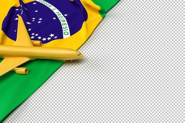 Avião de passageiros e bandeira do brasil Psd Premium
