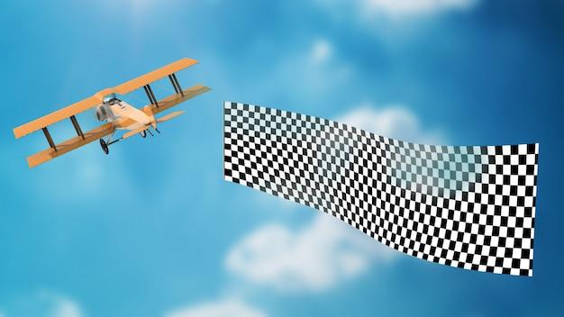 Avião que se afasta com maquete de banner psd Psd Premium