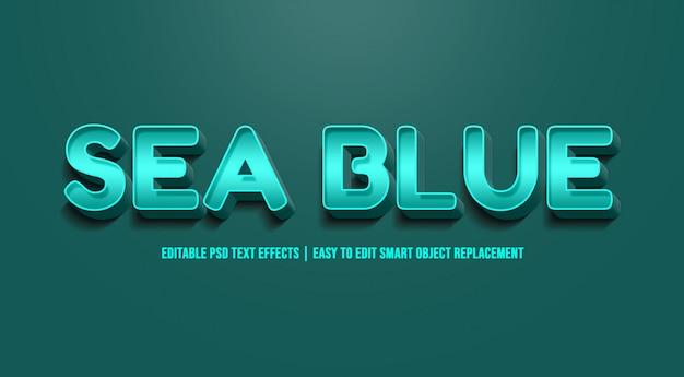 Azul do mar - efeito de texto premium psd Psd Premium
