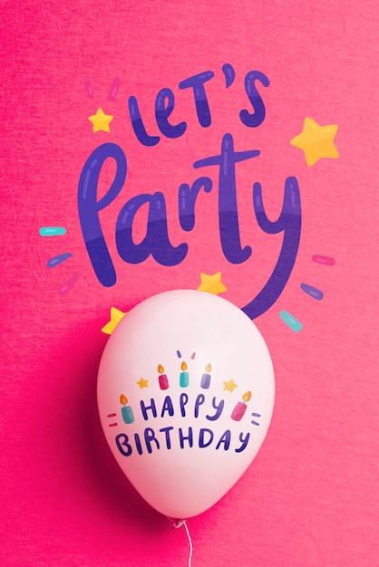 Balão de aniversário com espaço de cópia Psd grátis