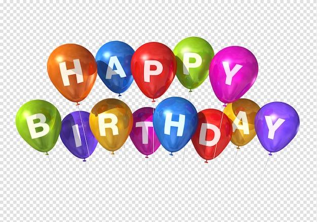 Balões de feliz aniversário Psd Premium