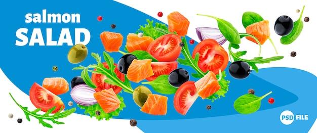 Bandeira de salada de salmão voador Psd Premium