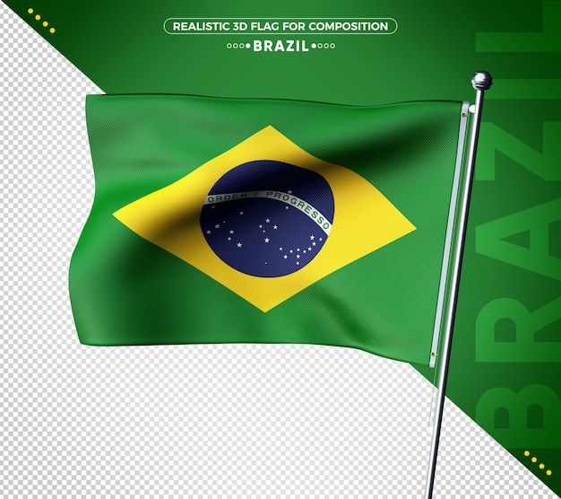 Bandeira do brasil 3d com textura realista Psd Premium