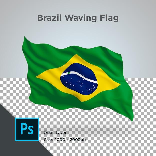 Bandeira do brasil wave psd transparente Psd Premium