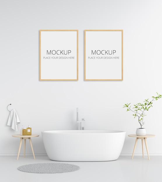 Banheiro branco com moldura Psd Premium