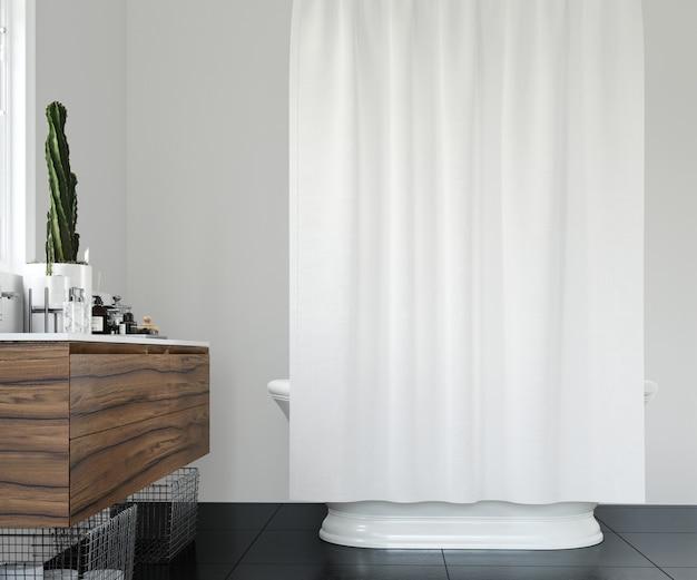 Banheiro elegante com cortina branca Psd grátis