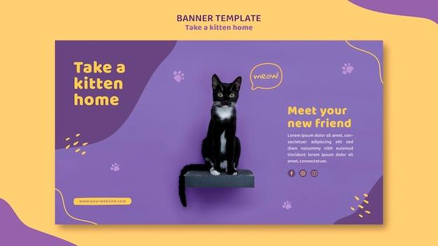 Banner adota um modelo de gatinho Psd grátis