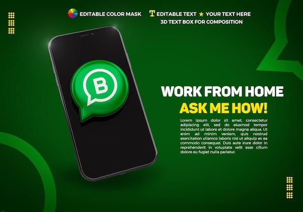 Banner com celular e ícone 3d whatsapp bussines Psd Premium