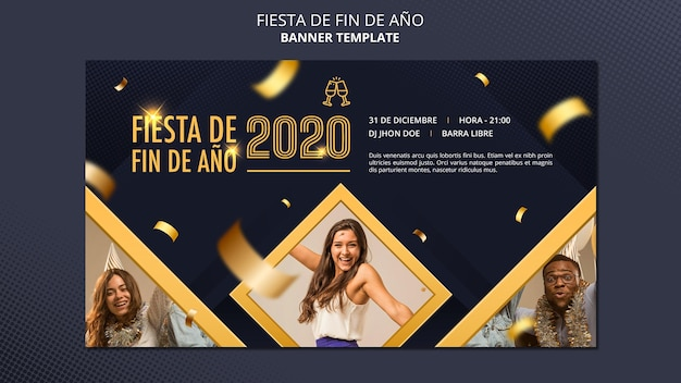 Banner da fiesta de fin de ano 2020 Psd Premium