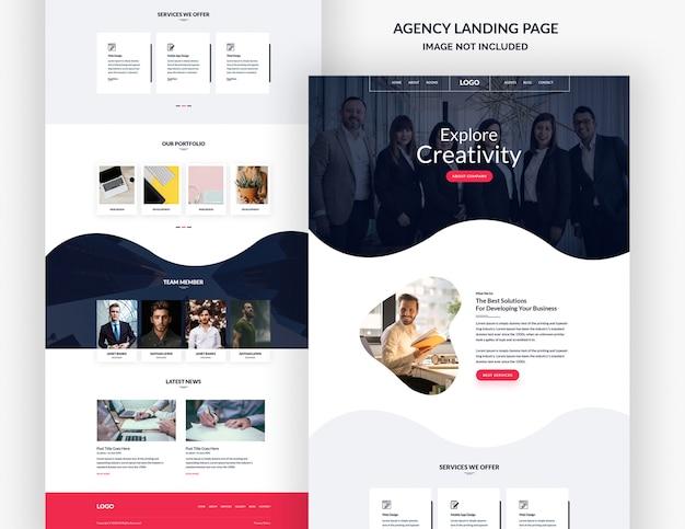 Banner da página de destino da agência de design corporativo e criativo Psd Premium