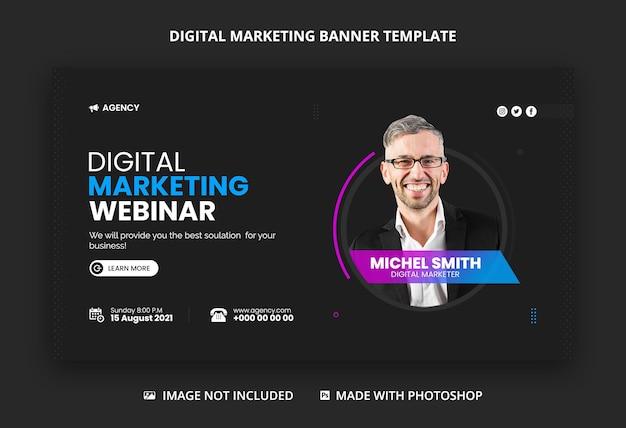 Banner da web da agência de marketing digital e modelo de miniatura do youtube Psd Premium