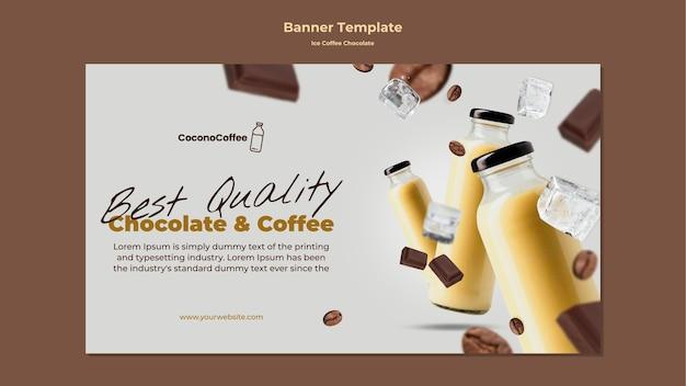 Banner de chocolate e café gelado com foto Psd grátis