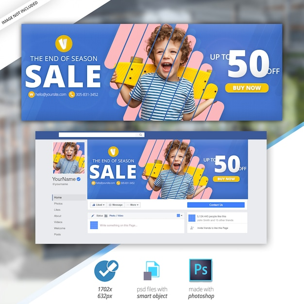 Banner de cobertura de linha do facebook de venda Psd Premium