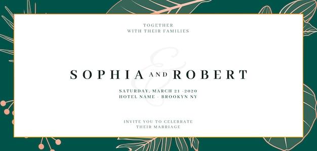 Banner de convite de casamento elegante com o conceito de natureza Psd grátis