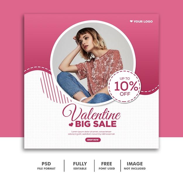 Banner de dia dos namorados mídia social post instagram, moda grande venda rosa Psd Premium