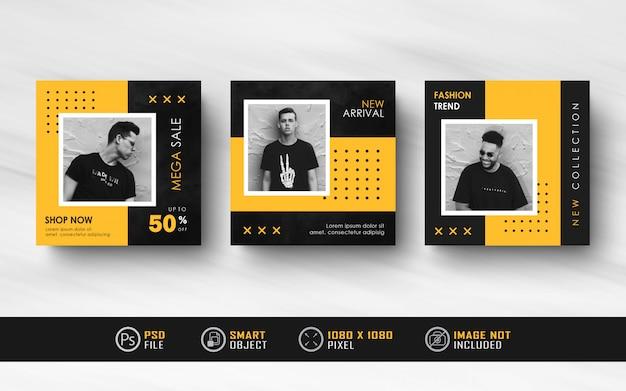 Banner de feed de postagem de mídia social do instagram minimalista preto amarelo Psd Premium
