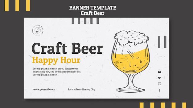 Banner de happy hour de cerveja artesanal Psd grátis