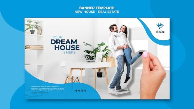 Banner de imóveis de nova casa Psd grátis