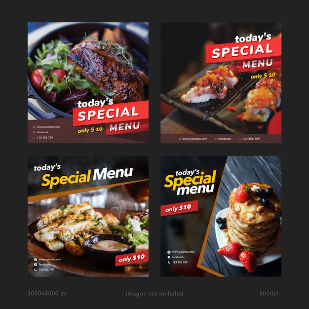 Banner de menu especial de hoje modelos de mídia social Psd Premium