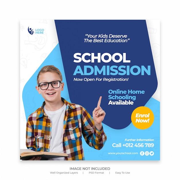 Banner de mídia social de admissão de educação escolar crianças e modelo de folheto quadrado Psd Premium