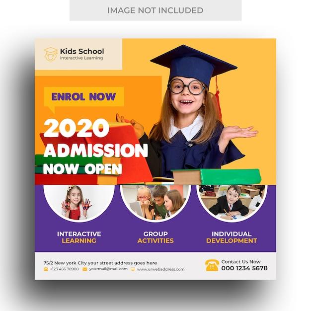 Banner de mídia social de admissão de educação escolar de crianças e modelo de panfleto quadrado Psd Premium