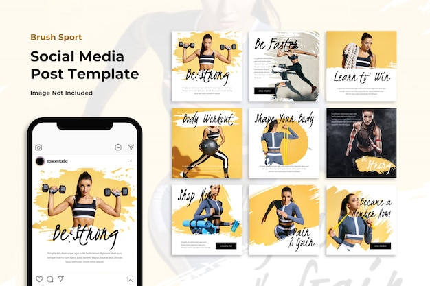 Banner de mídia social de esporte escovado modelos do instagram Psd Premium