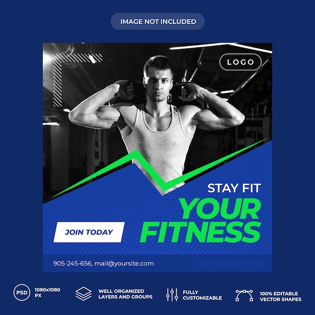 Banner de mídia social de personal trainer de fitness Psd Premium