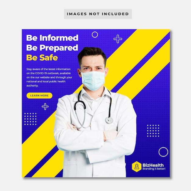 Banner de mídia social de saúde médica sobre coronavírus Psd Premium
