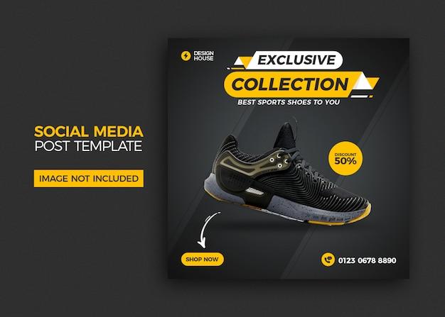 Banner de mídia social de tênis esportivos dinâmicos e design de modelo de postagem do instagram Psd Premium