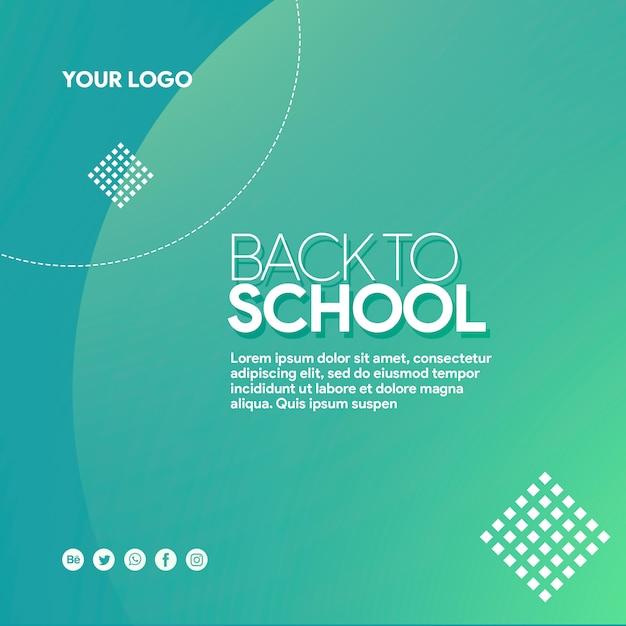 Banner de mídia social de volta à escola com elementos Psd Premium