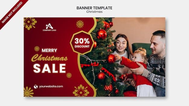 Banner de mídia social de web de venda de natal Psd Premium