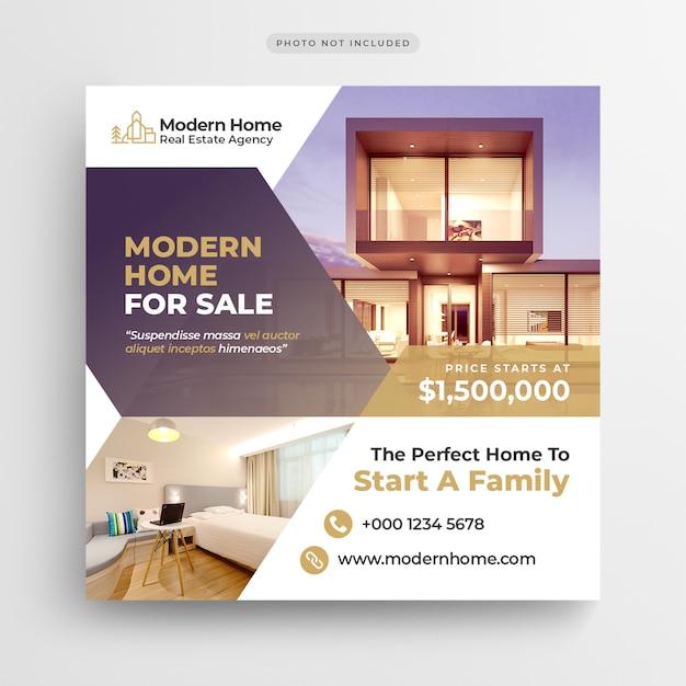 Banner de mídia social imobiliária ou modelo de folheto quadrado Psd Premium