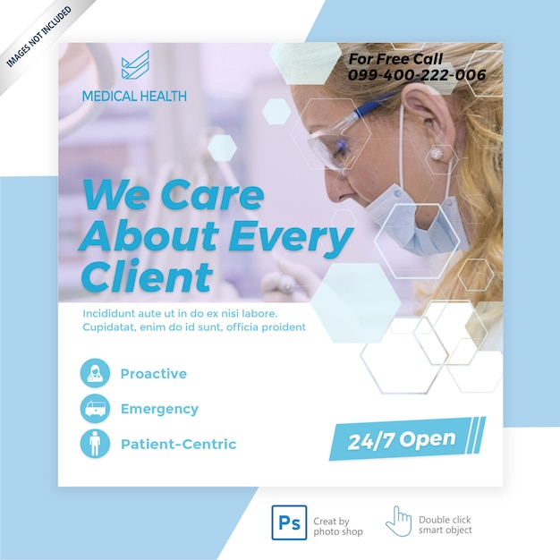 Banner de mídia social médica Psd Premium