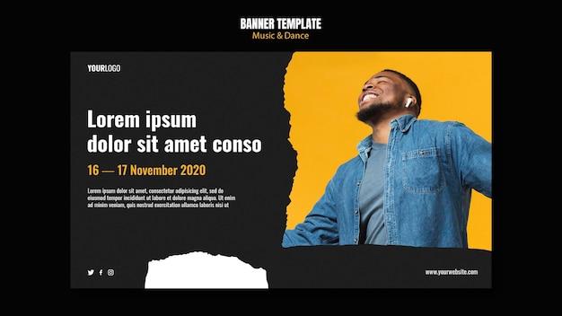 Banner de modelo de anúncio de evento de música e dança Psd grátis
