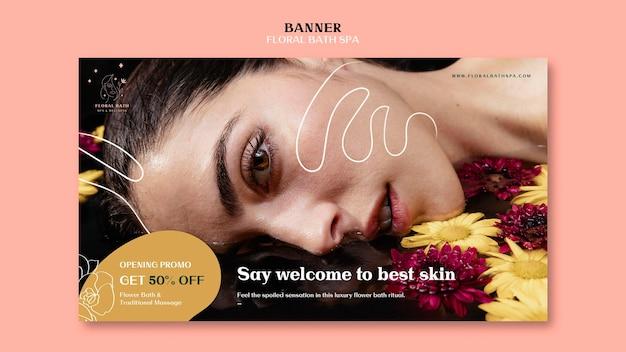 Banner de modelo de anúncio de spa floral Psd grátis