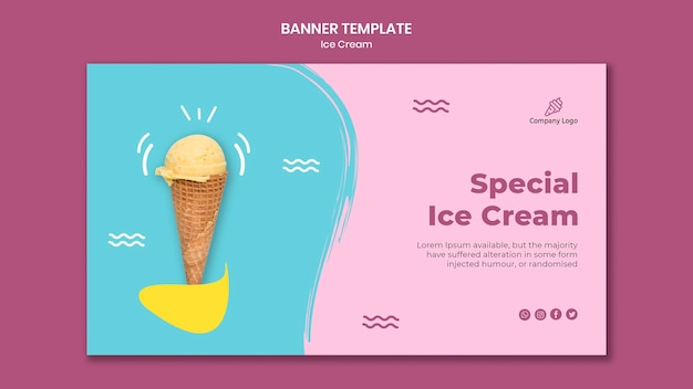 Banner de modelo de loja de sorvete Psd grátis
