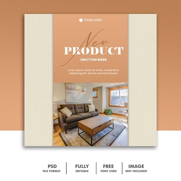 Banner de modelo de postagem de mídia social, decoração de móveis elegante Psd Premium
