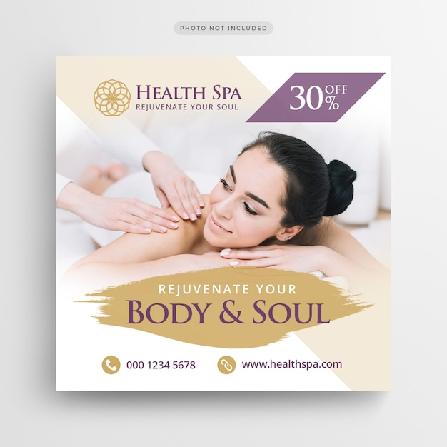 Banner de postagem de spa de saúde ou modelo de folheto quadrado Psd Premium