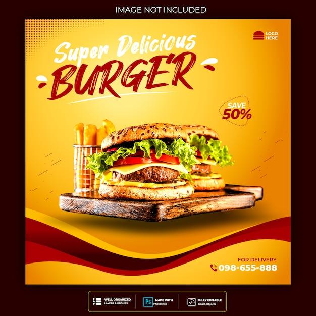 Banner de postagem do instagram de mídia social de hambúrguer alimentar Psd grátis