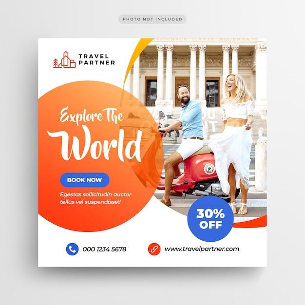 Banner de postagem do instagram de turismo de viagem ou modelo de folheto quadrado Psd Premium