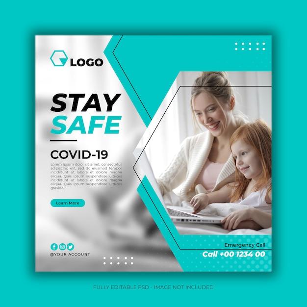 Banner de saúde com tema de prevenção de coronavírus Psd Premium