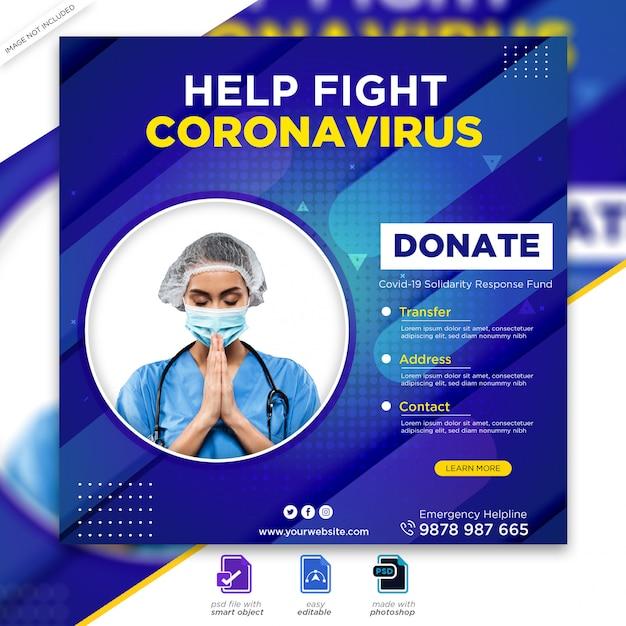 Banner de saúde médica sobre covid-19 coronavírus, mídia social instagram post banner psd Psd Premium