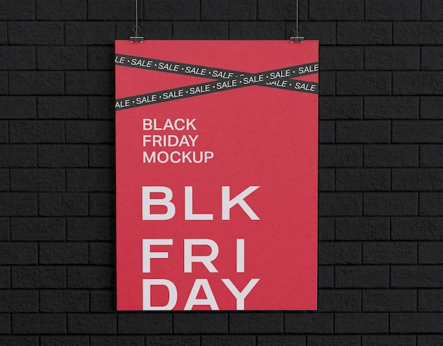 Banner de sexta-feira negra em maquete de parede negra Psd grátis