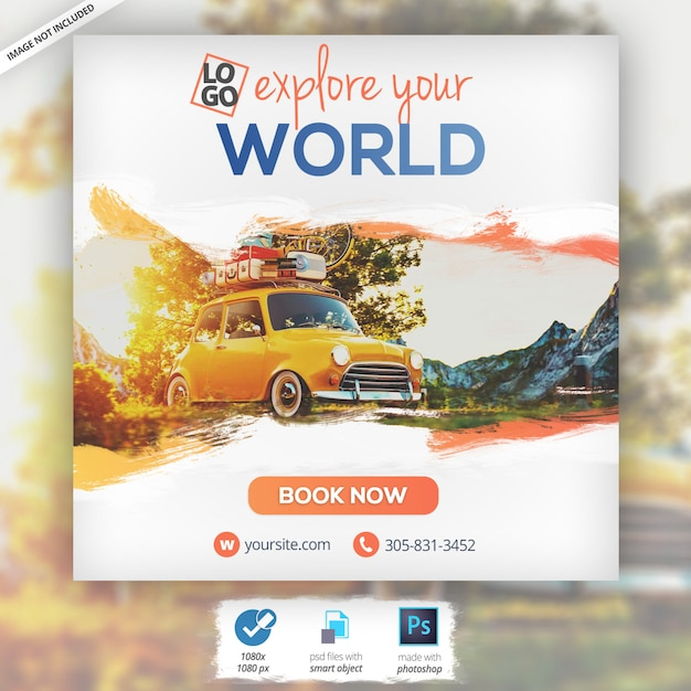 Banner de turismo de férias de viagens na web Psd Premium