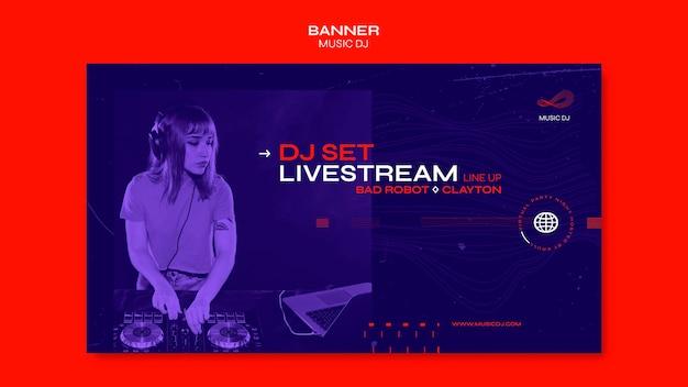 Banner dj definir modelo de anúncio de transmissão ao vivo Psd Premium