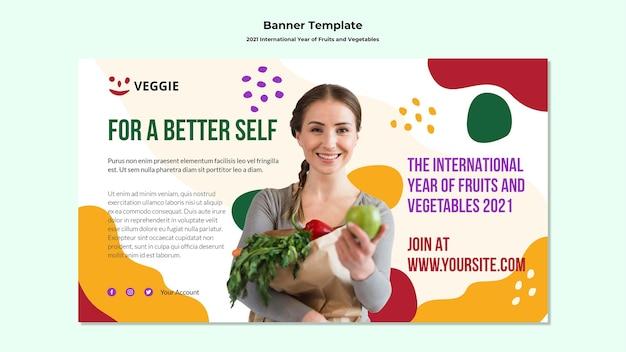 Banner do ano internacional de frutas e vegetais Psd grátis