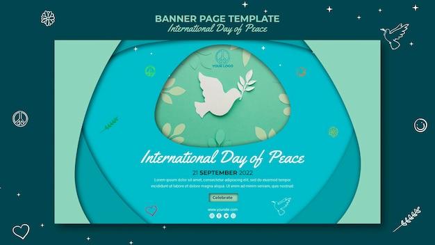 Banner do dia internacional da paz com pássaro de papel Psd grátis