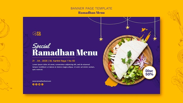 Banner do menu do ramadahn Psd grátis