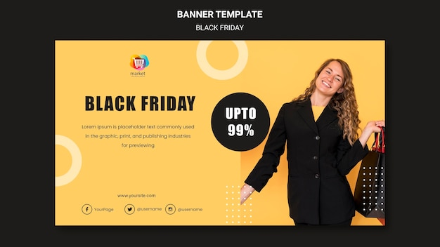 Banner do modelo black friday Psd grátis