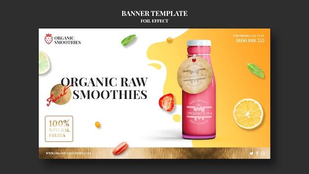 Banner do modelo de smoothies orgânicos Psd grátis